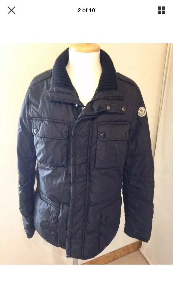 694c83a1e MONCLER AMAZZONE BOYS COAT DOWN FILLED BLACK RIBBED COLLAR AGED 14 ...