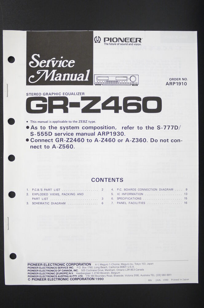 Pioneer gr-z460 Original Stereo Equalizer Service Manual/Guide ...