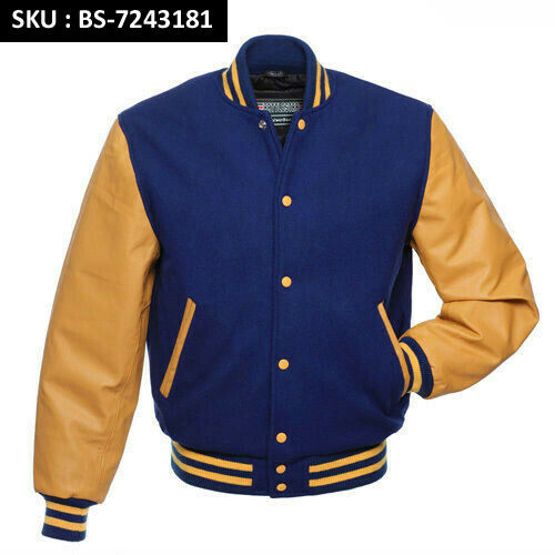 7bd37f1ef45 Details about ROYAL BLUE Wool Varsity BOMBER BASEBALL Jacket - GOLD YELLOW  Leather Sleeves
