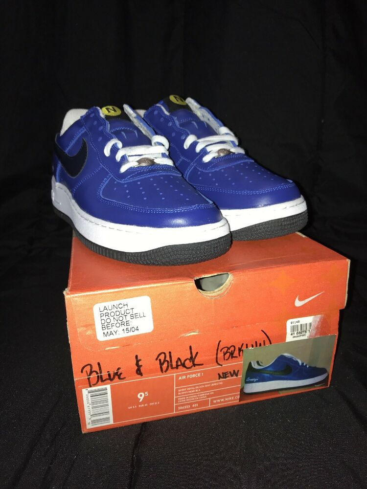 """new arrivals a9ad2 a3ae3 Details about NIKE AIR FORCE 1 """"BROOKLYN"""" SPORT ROYAL BLACK-WHT 306353 401  MENS SZ 9.5"""