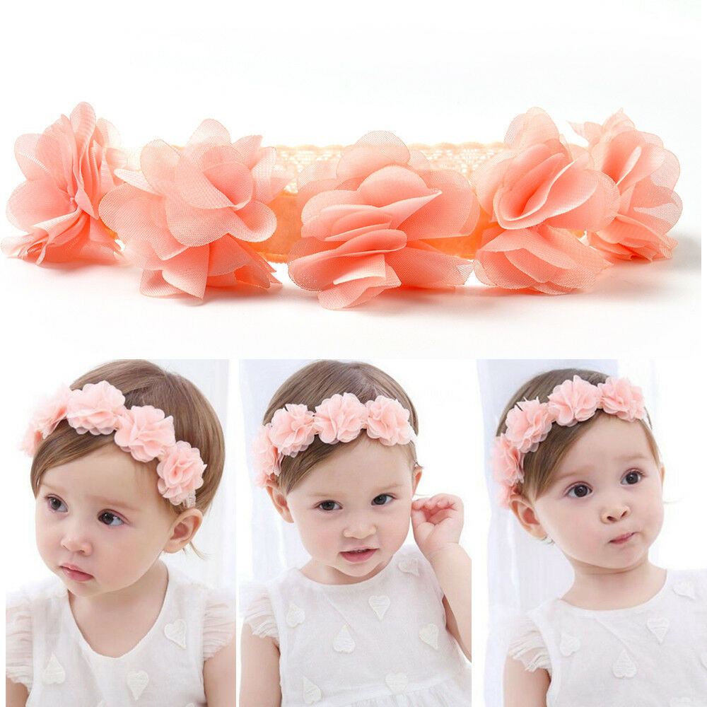 11ad088c5079 Details about Lovely Baby Girls Toddler Lace Flower Hair Band Headwear  Headband Accessories