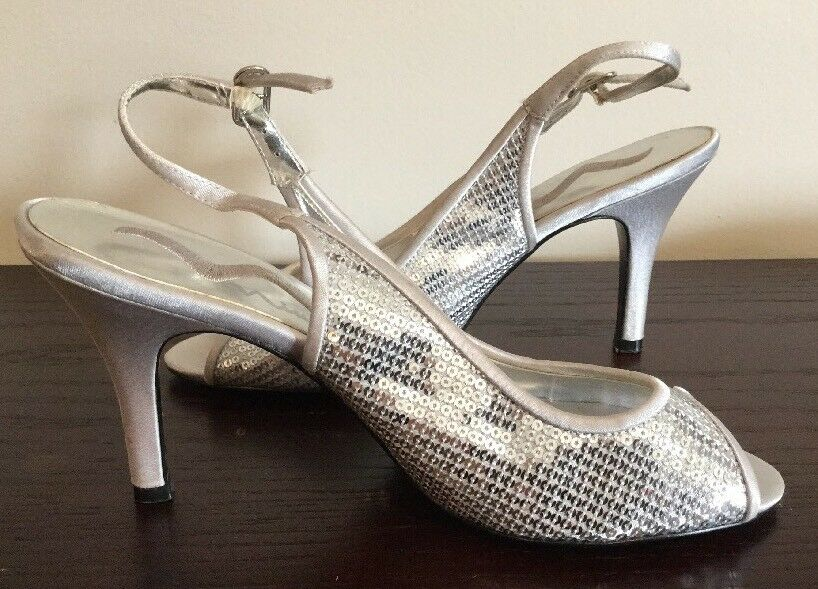 f31b034a5be Details about NINA WOMENS SILVER SEQUIN HIGH HEELS 3