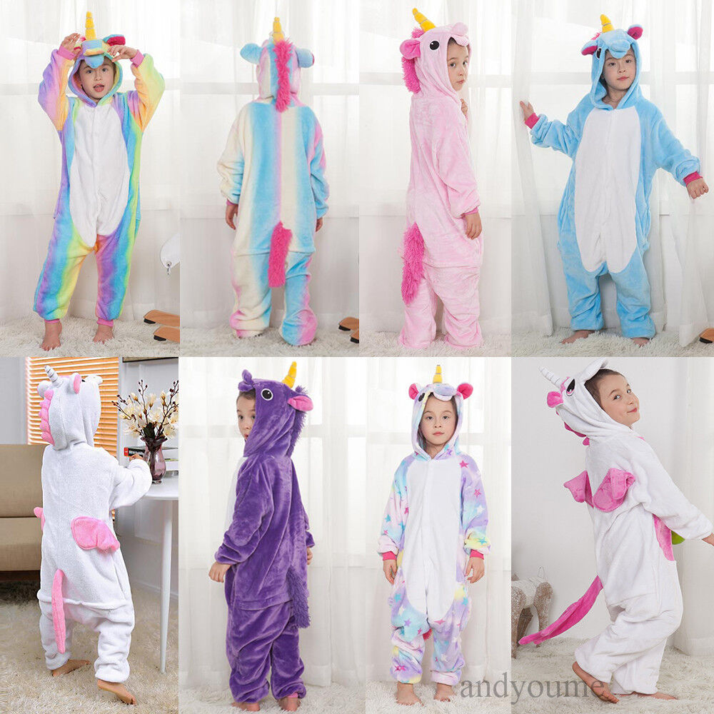 mode einhorn pyjamas kost m jumpsuit tier schlafanzug kinder unisex fasching de ebay. Black Bedroom Furniture Sets. Home Design Ideas
