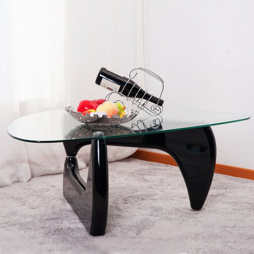 appealing black glass coffee table living room | Modern Noguchi Black Glass Coffee Table Side / End Table ...