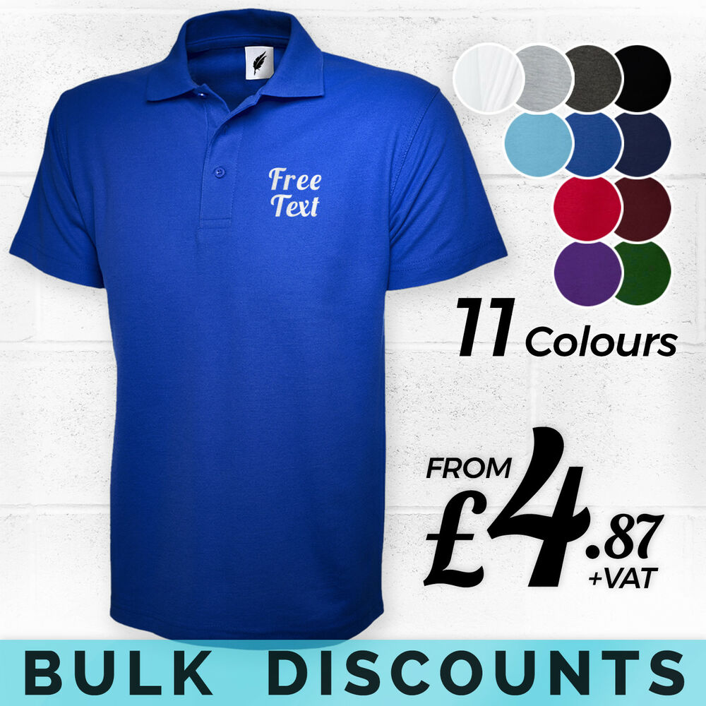 8223ad83 Details about CUSTOM EMBROIDERED POLO SHIRT - Personalised Free Text  Printed T-Shirts BULK BUY