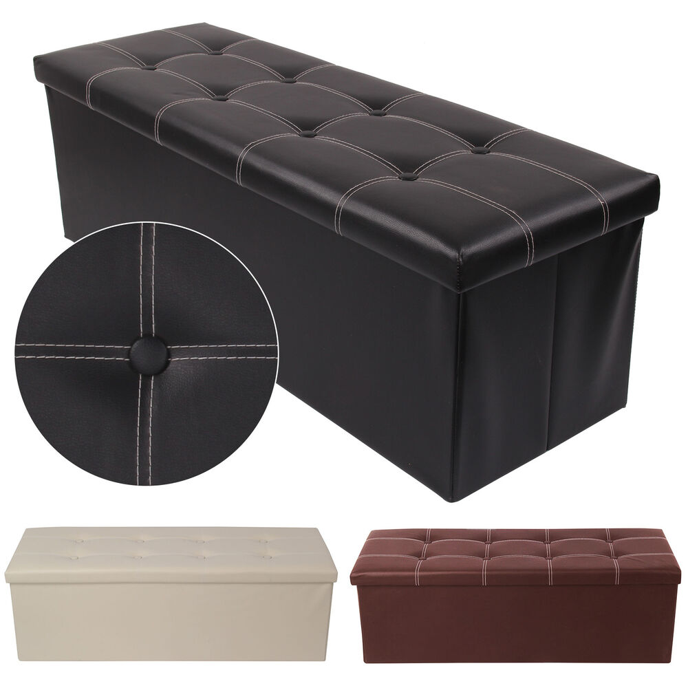 High Quality 38X38X110cm OTTOMAN FAUX LEATHER STOOL FOLDING SEAT CHEST FOLDABLE STORAGE  BOX