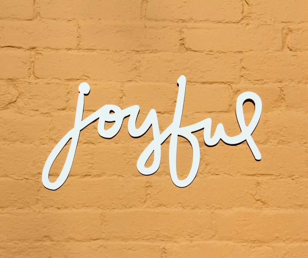 Joyful Metal Home Decor, Word Wall Art, Contemporary Joyful Word ...