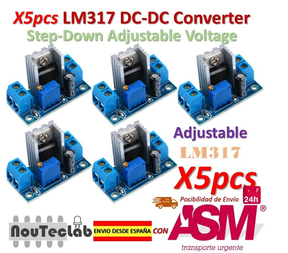 5pcs Lm317 Dc Converter Step Down Circuit Board Adjustable Linear Voltage Stepdown Schematic Regulator Ebay