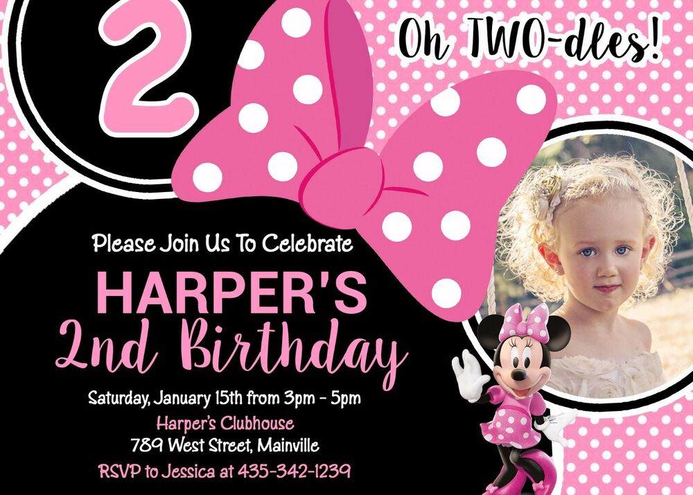 Details About Minnie Mouse TWO Dles Two Toodles Second Birthday Party Invitation