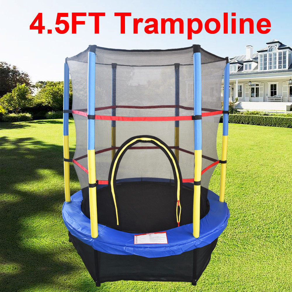 Details About 45FT 55 Inch Trampoline With Enclosure Safety Net Skirt Kid Outdoor Activity