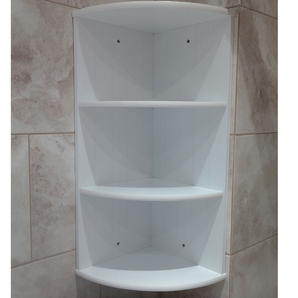 BATHROOM CORNER SHELF SHELVING UNIT WHITE WOODEN CABINET 3 TIER WALL ...