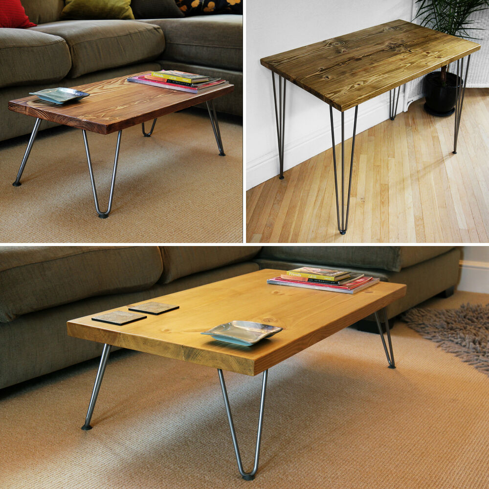 Coffee table hairpin legs side table desk solid wood for Coffee tables on ebay