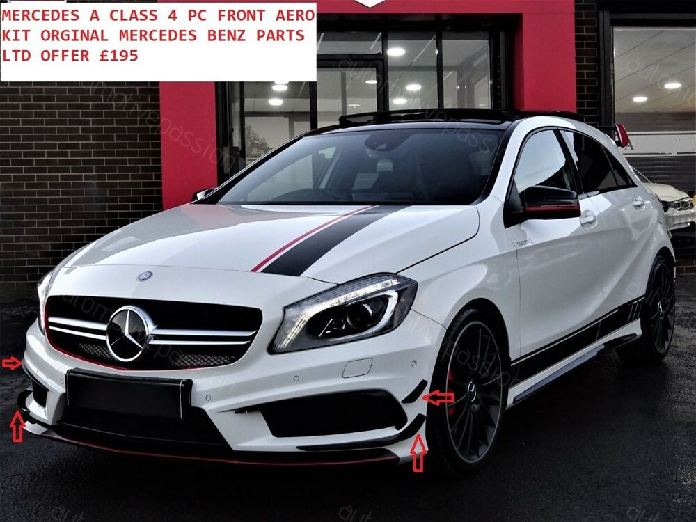 mercedes benz w176 a class a45 amg gloss black front bumper aero spolier flicks ebay. Black Bedroom Furniture Sets. Home Design Ideas