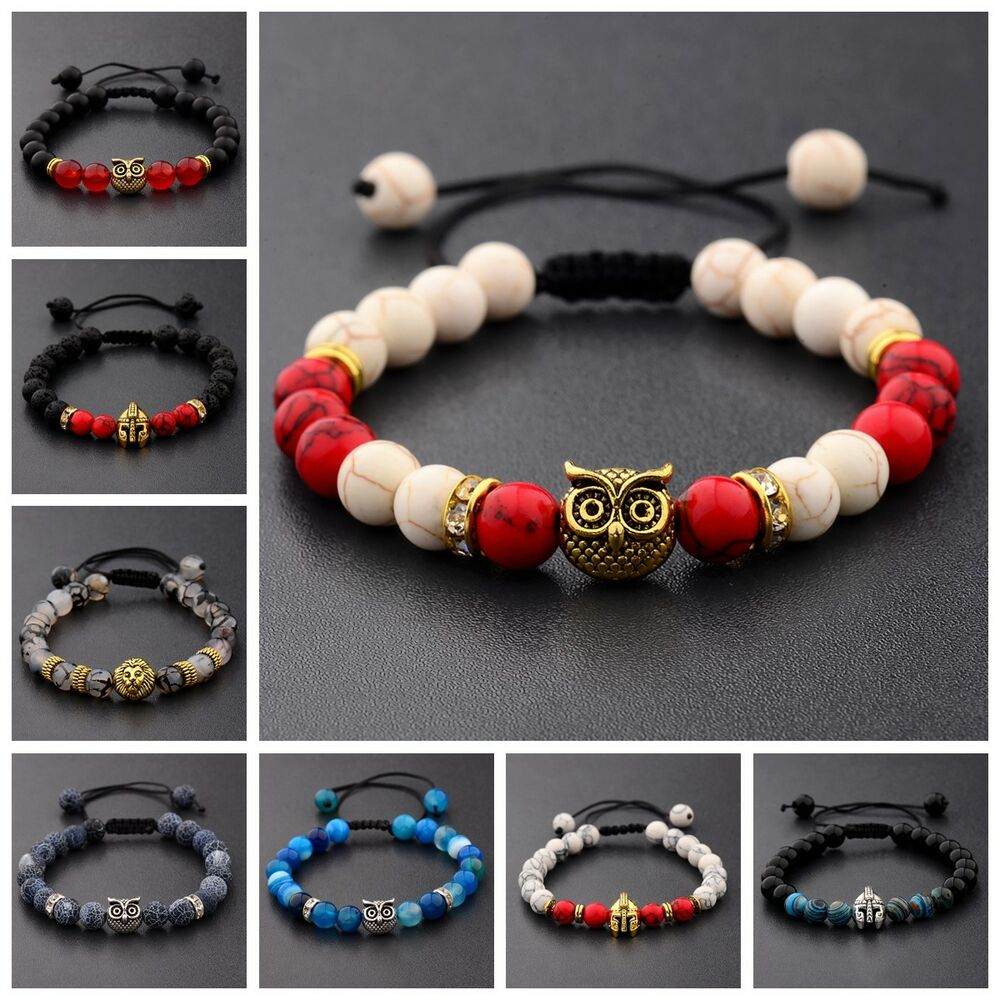 Details About 8mm Natural Lava Stone Owl Helmet Lion Beads Lucky Braided Macrame Bracelets
