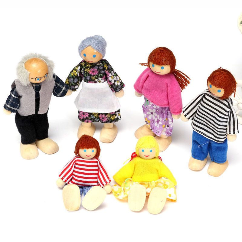 6 Kawaii Doll Wooden House Family People Kids Chlidren Toy