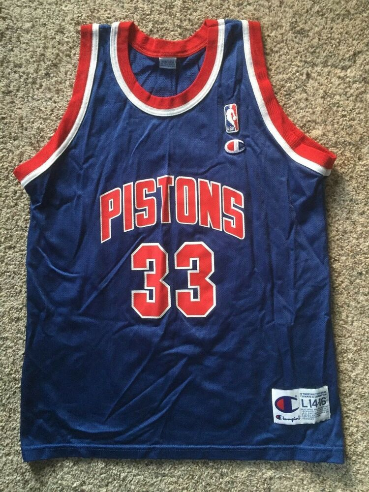 Detroit Pistons  33 Grant Hill Vintage Champion Jersey Youth Sz L 14-16 NBA  90 s  992cc2684