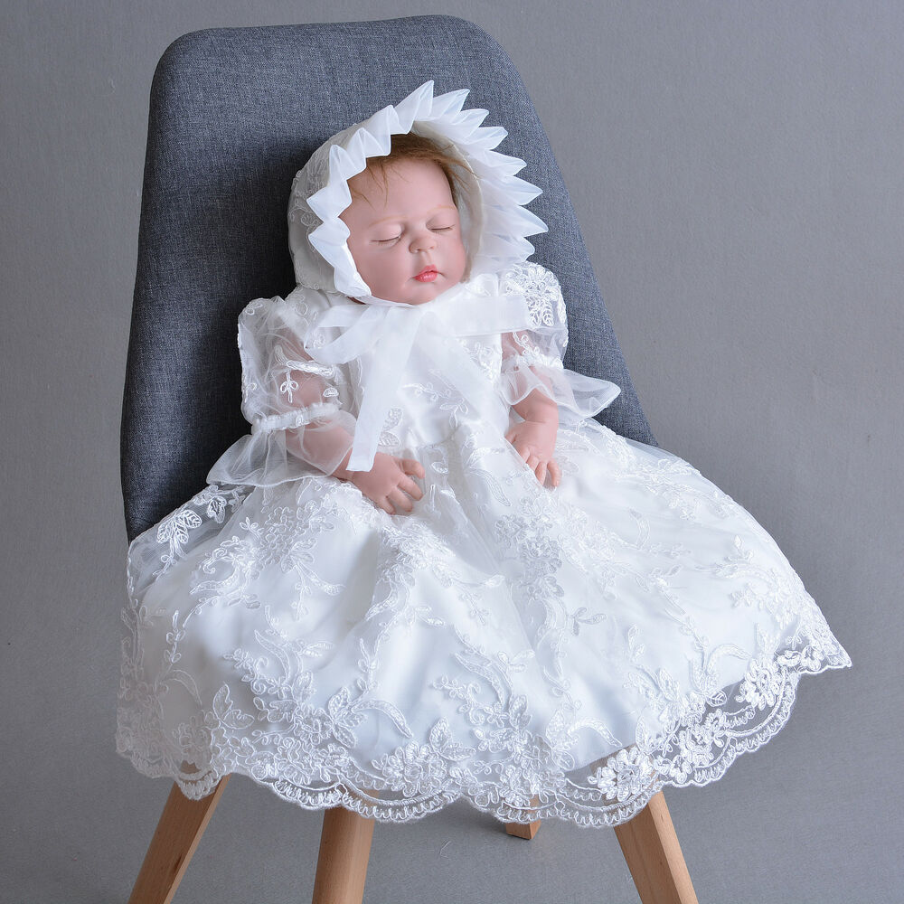Christening Gowns From Wedding Dresses: Newborn Baby Christening Gown Infant Lace Baptism Dress