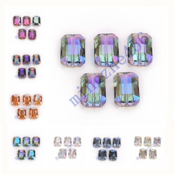 14x10mm Rectangle Square Faceted Crystal Glass Loose Spacer Beads 10/20pcs