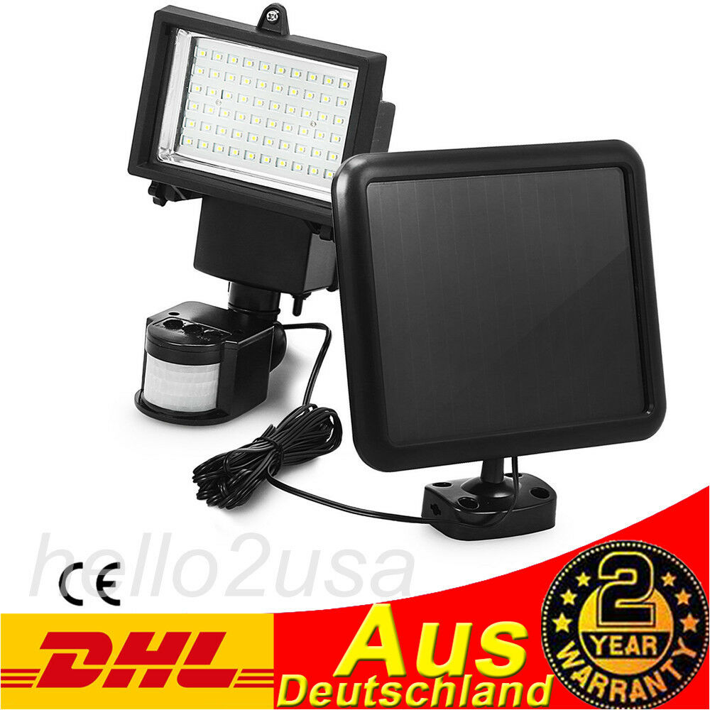 au en solarleuchte solarlampe 60led wandleuchte fluter mit bewegungsmelder de ebay. Black Bedroom Furniture Sets. Home Design Ideas