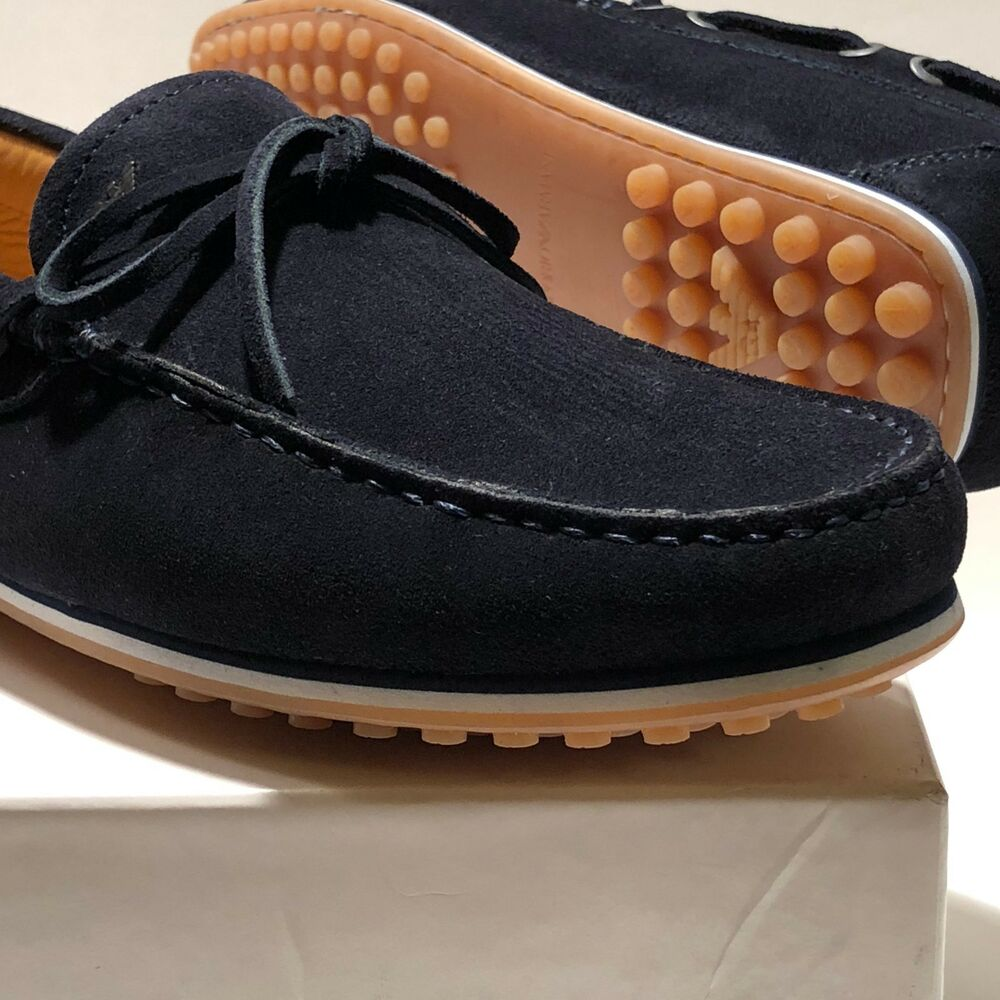 bbb8915e34a8 Details about Armani Navy Blue Boat Loafers Men s Driver s Suede Shoes 8.5  41.5 Casual Fashion