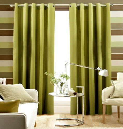 LIME GREEN Pair Of Plain Eyelet Curtains BLACKOUT/ DIM OUT