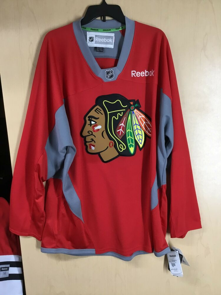 f60e7cb88 Details about Chicago Blackhawks Red Practice Jersey NHL Reebok Officially  Licensed MANY SIZES
