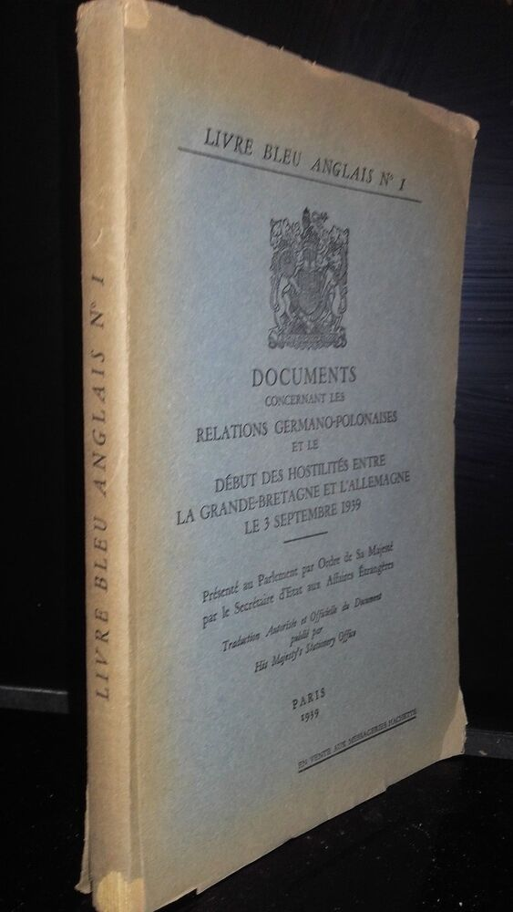 Livre Bleu Anglais N 1 Document Sur Relations Germano Polonaises Paris 1939 Ebay