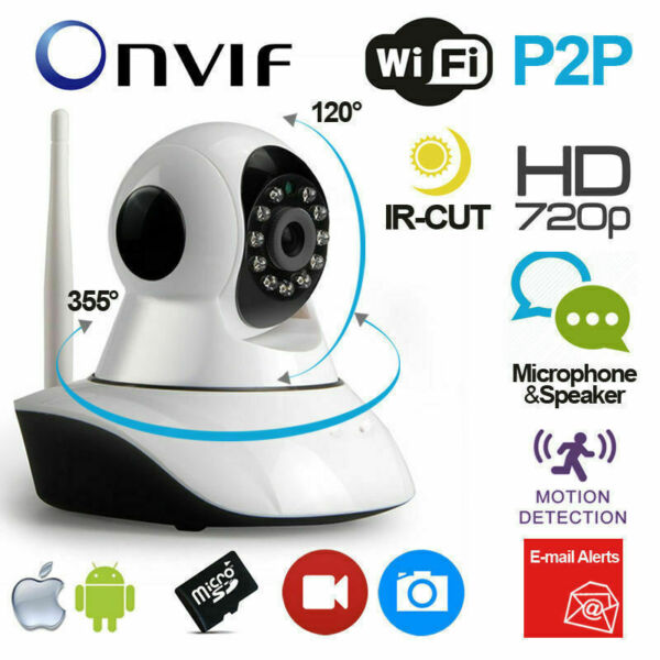 TELECAMERA IP WIRELESS CAMERA HD 720P  LED IR LAN MOTORIZZATA WIFI RETE INTERNET