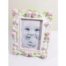 First Impressions Girl's Pink Flowers Baby Picture Frame 4