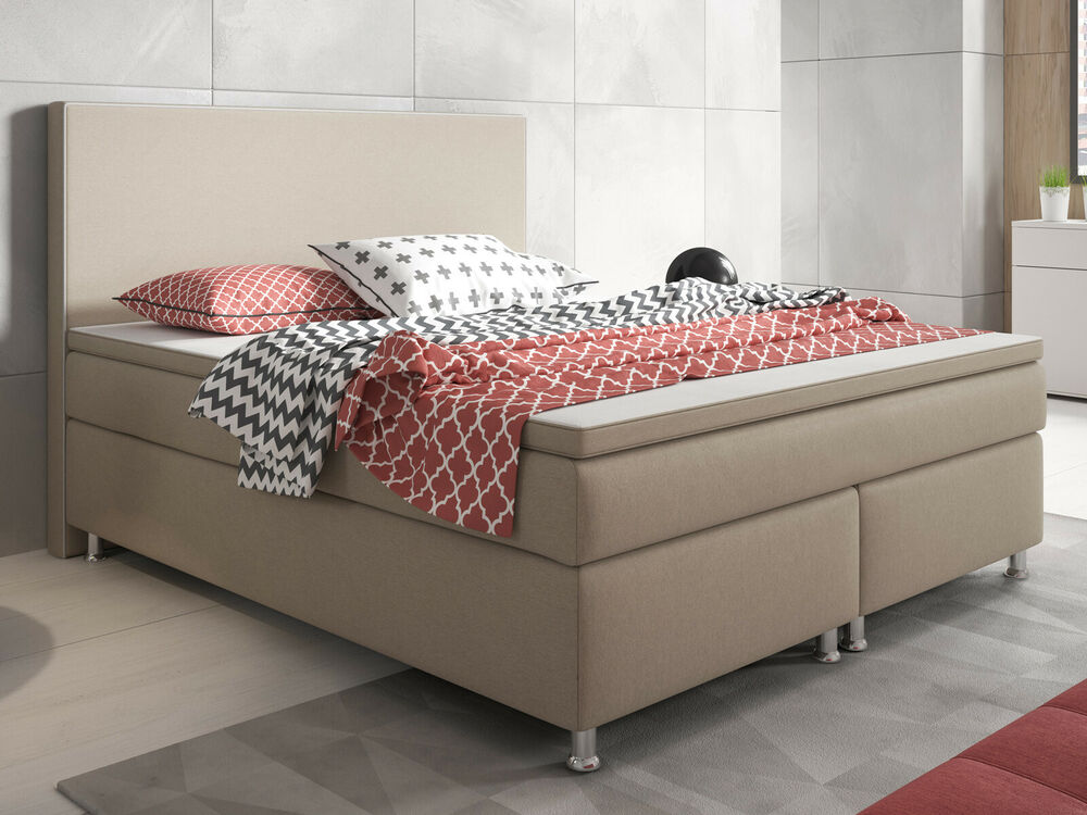 boxspringbett king size 180x200 cm webstoff muddy ebay. Black Bedroom Furniture Sets. Home Design Ideas