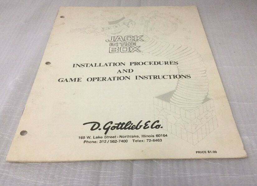 Gottlieb Jack In The Box Installation Procedures Game Operations