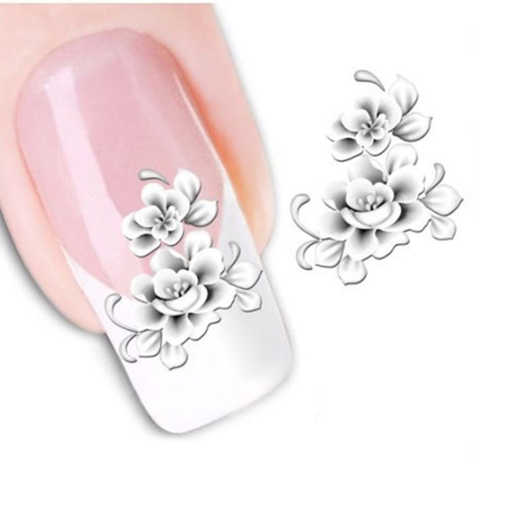Fashion Nail Art Decals White Flower French Tips Water Transfer