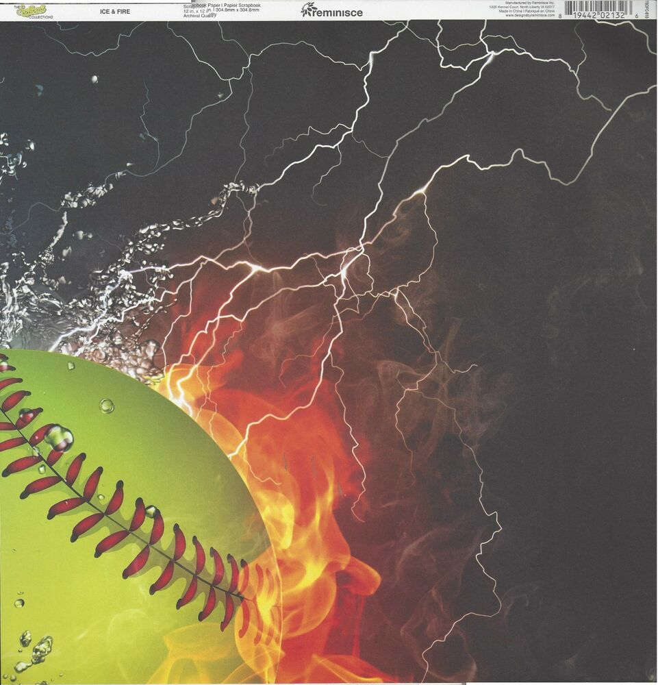 Reminisce Ice And Fire Softball Scrapbooking Paper Tsofc 010