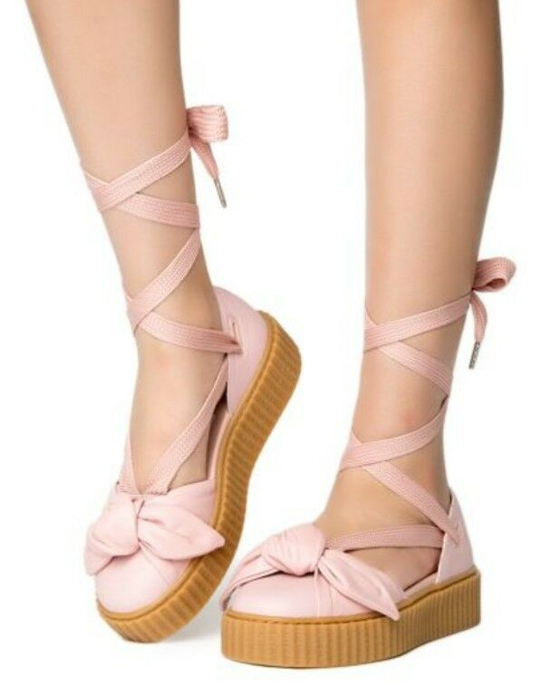 a83a9ae8a8dcd3 Details about New Women s Puma Fenty By Rihanna Bow Creeper Sandal Pink  180