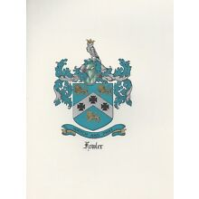 Great Coat of Arms Fowler Crest genealogy, would look great framed!