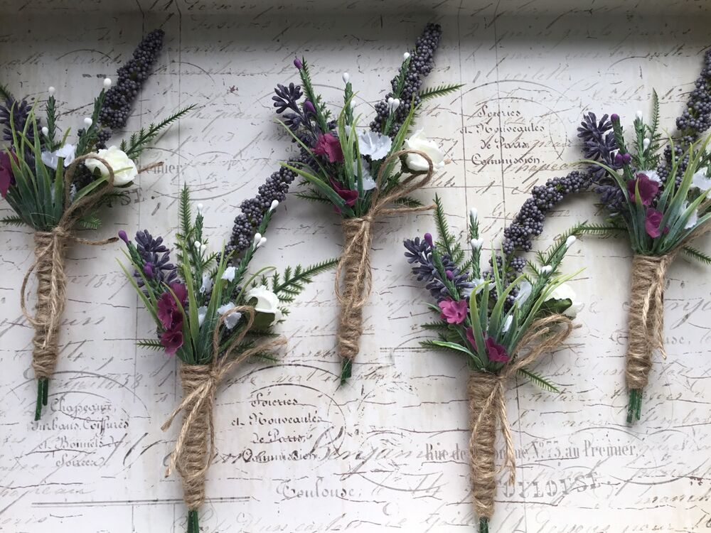 How To Make Wedding Buttonholes: ARTIFICIAL LAVENDER BUTTONHOLE RUSTIC, HESSIAN VINTAGE