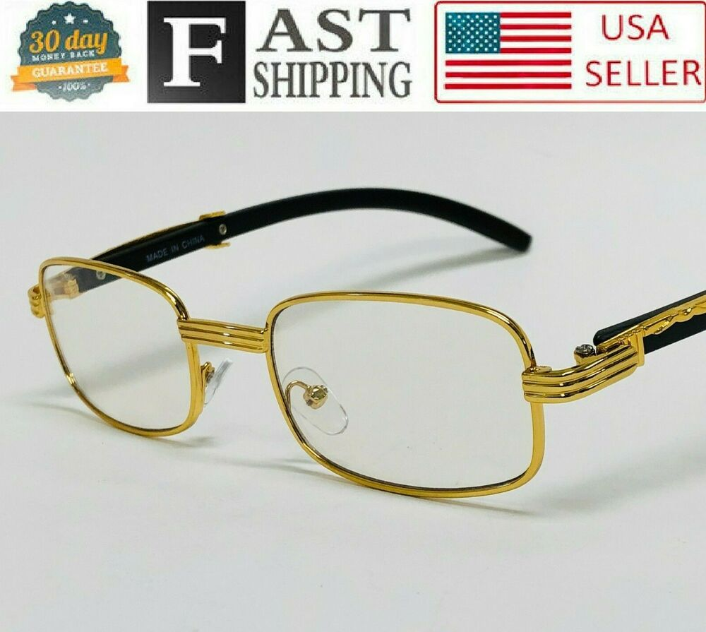 4eb5680cc62 Details about Fashion Square Wood Buffs Eyeglasses Gold Frame Clear Lens  Migos Quavo Glasses