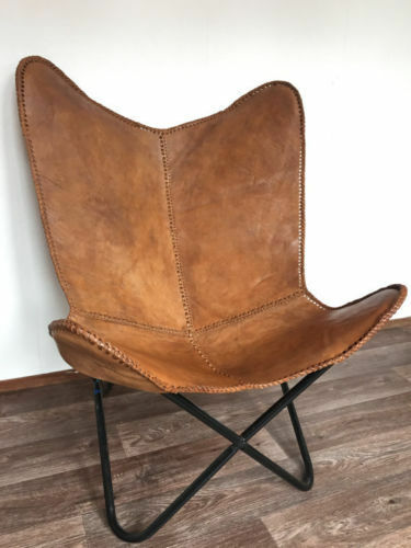 Bkf Star Design Brown Leather Butterfly Arm Chair