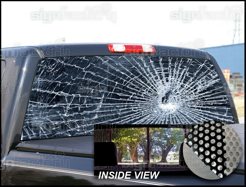 P155 Broken Glass Rear Window Tint Graphic Decal Wrap Back