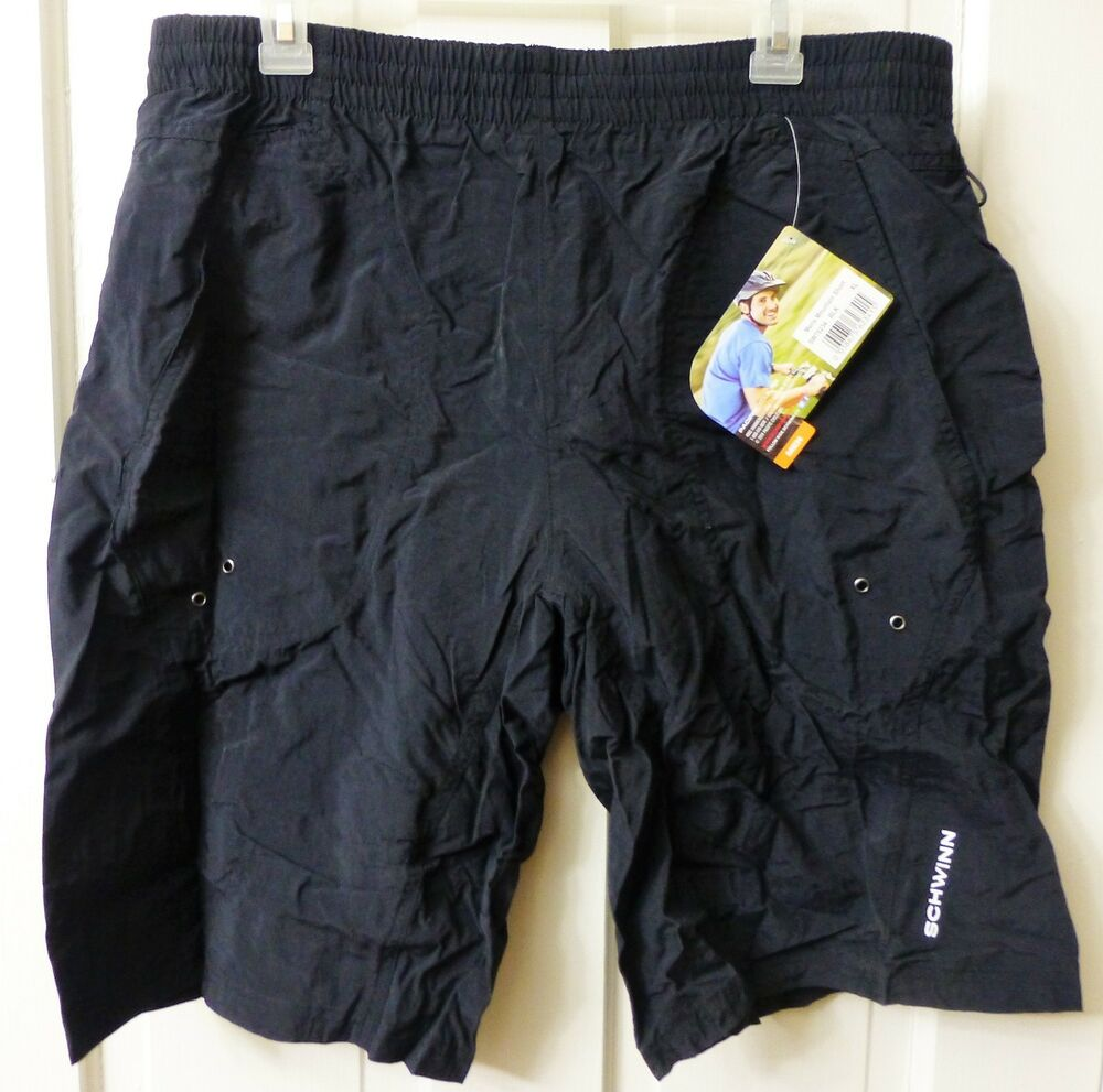 Details about Schwinn Mens Mountain Bike Shorts LARGE Black Pockets Padded  Lined Baggy Loose 1ae86cb5c