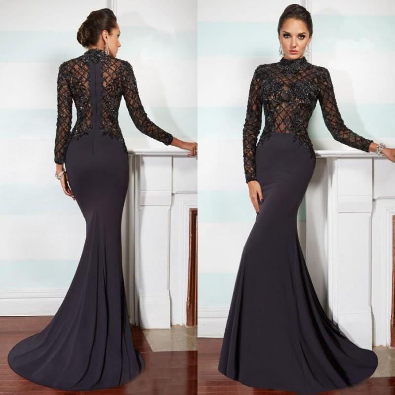 Mermaid Black Long Sleeve Wedding Evening Dress Prom Gown