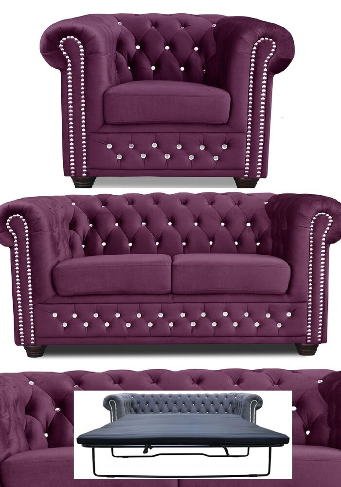 chesterfield sofa 3 2er sitzer sessel garnitur bett stoff lila b rom bel ebay. Black Bedroom Furniture Sets. Home Design Ideas