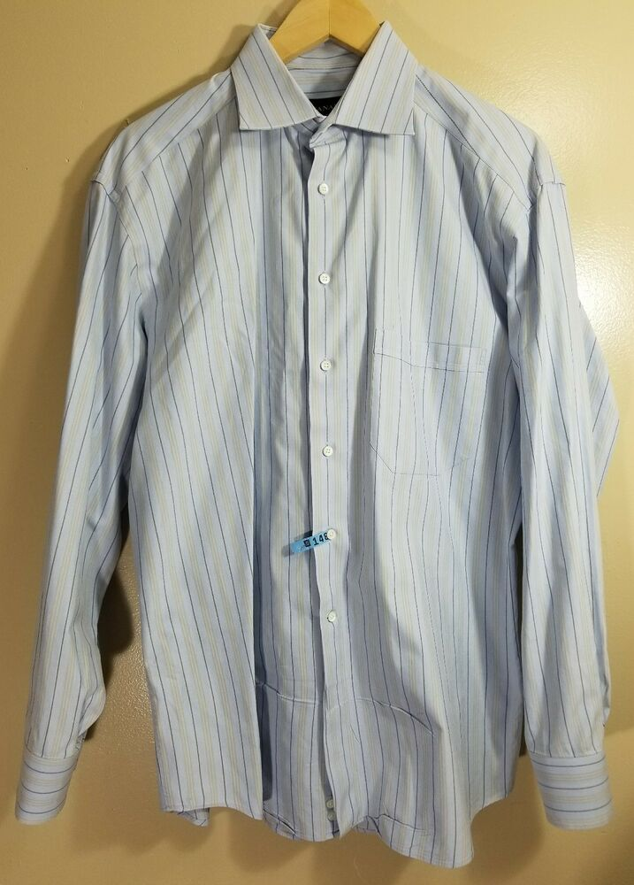 ab6af769f0 Details about Canali Men's Long Sleeve Button Front Shirt Striped Size 41 -  16.5 Made In Italy