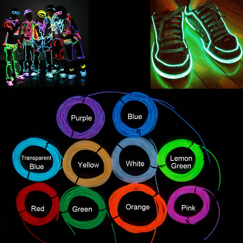 Neon LED Light Glow EL Wire String Strip Rope Tube Decor Car Party + ...