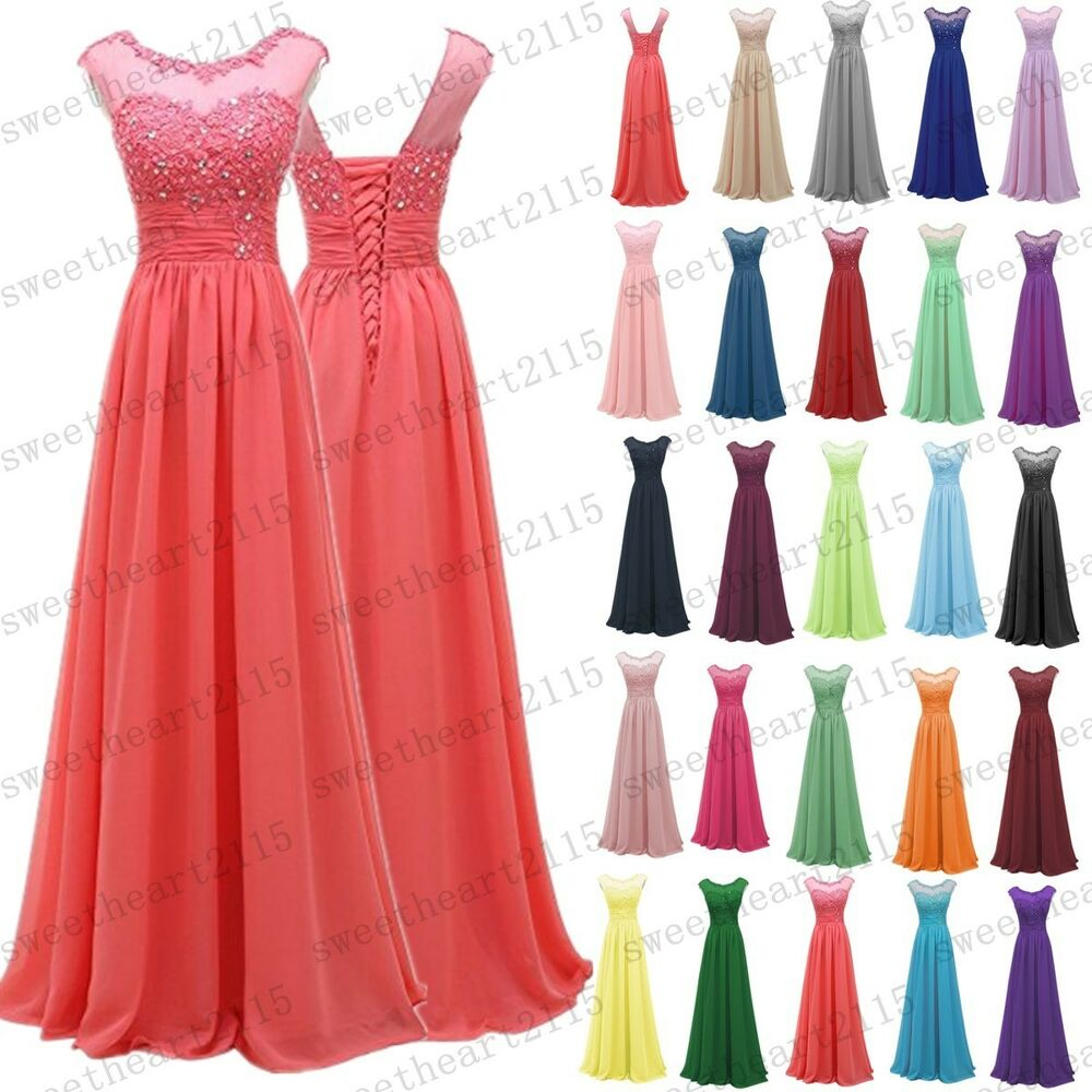 e473639523 Details about Long Chiffon Wedding Formal Evening Party Bridesmaid Ball Gown  Dress Size 6-28