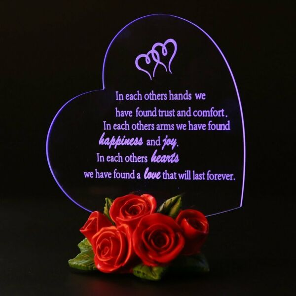 Valentines Day LED Heart Love Message Gift Roses Base Acrylic Mirror Room Decor