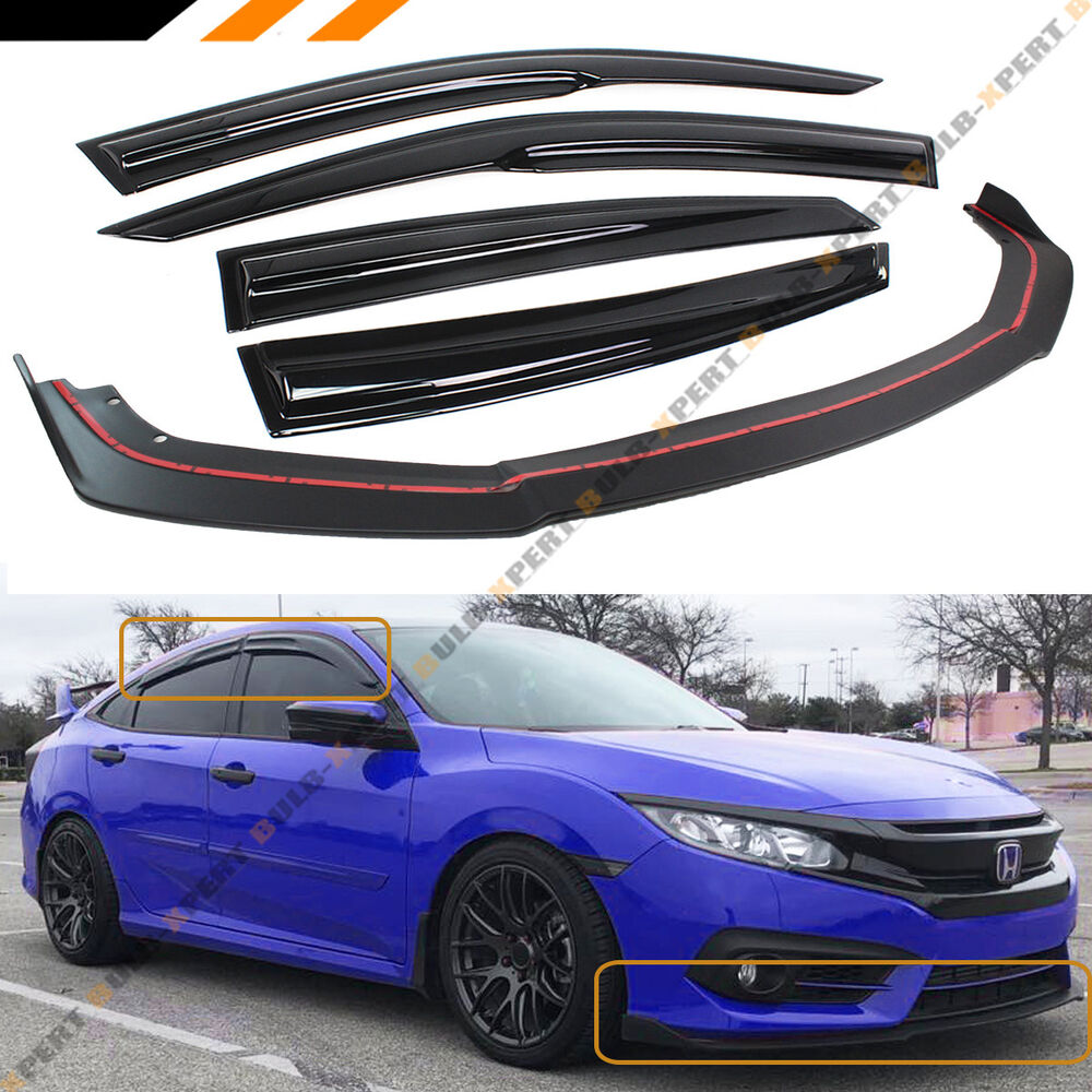 Sport Turbo Rs Rear Bumper Black Lip Diffuser For 2016: FOR 2016-18 HONDA CIVIC 4DR FRONT BUMPER LIP SPLITTER