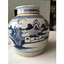 Antique Chinese Stoneware Ginger Jar W Cover Blue & White
