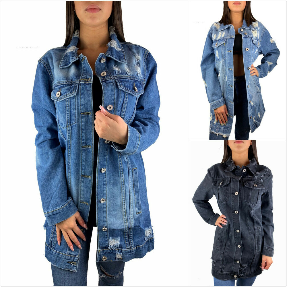 damen jeansjacke lang oversize grau blau destroyed jacke denim mantel blogger ebay. Black Bedroom Furniture Sets. Home Design Ideas