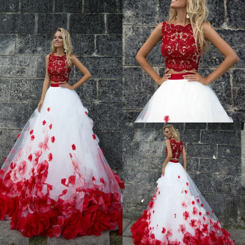 Red And White Ball Gown Wedding Dress: New Plus Size White Red Wedding Dresses Two Pieces Ball
